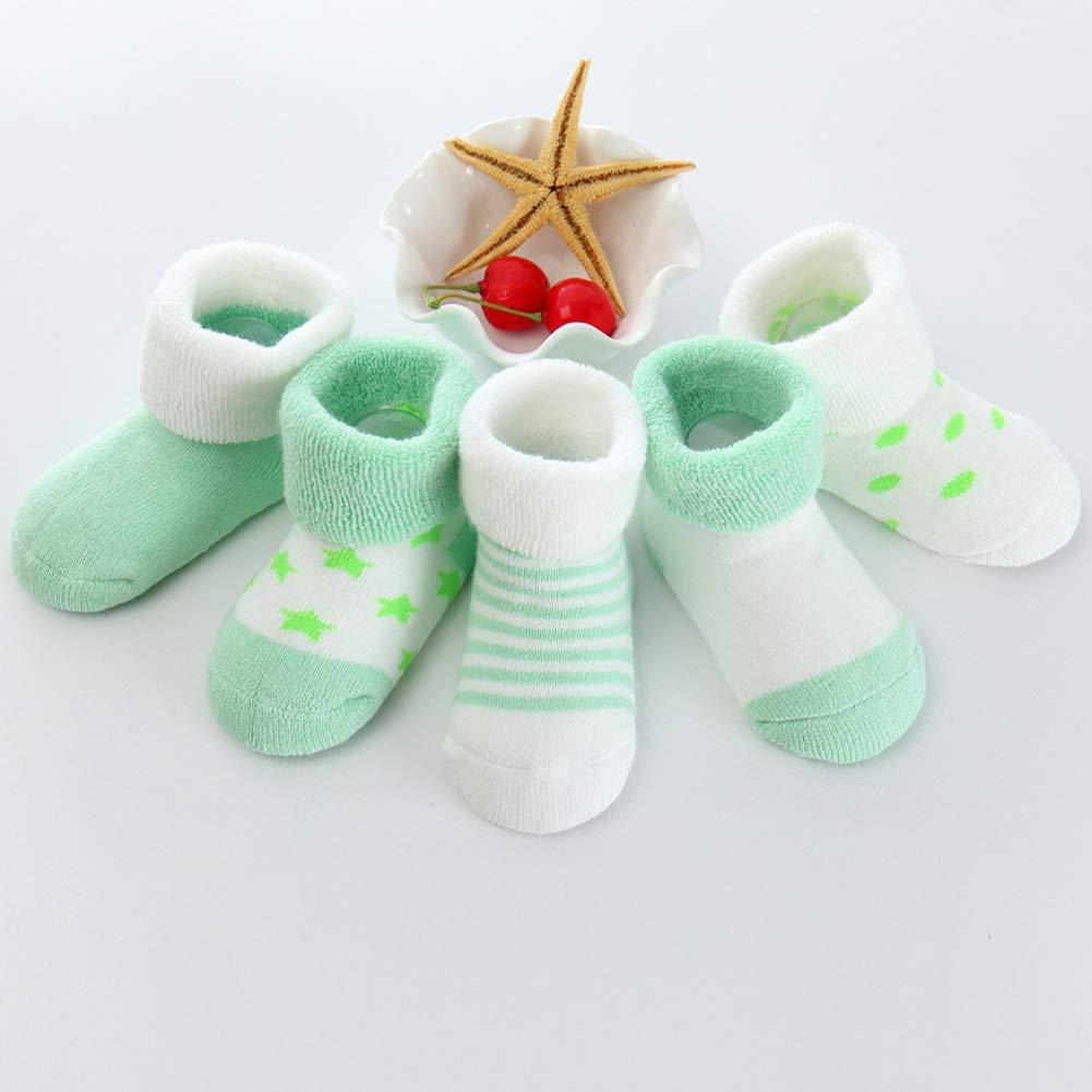 Bluelans 5 Pairs Toddler Socks Newborn Baby Infants Socks Kids Socks Dots Stripe Baby Boys Girls Socks Antislip Socks Baby Socks Warm Winter Socks Gift for 0-24 Month Baby