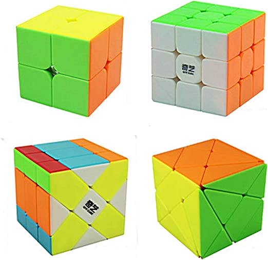 JIAAE Speed Cube, Alien Color Sticker-Free Set 2X2 / 3X3 / Moveling/Transform King Kong/Magic Puzzle 3D Professional Competition Fun Decompression Children Beginner Assembling Game (4 Pack): Amazon.es: Hogar
