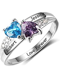Personalized Simulated Birthstone Promise Names Ring for Girlfriend Cheap Engagement Heart Rings for Her