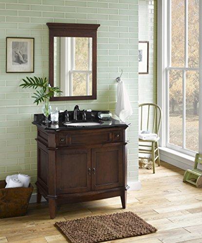 Distressed Nickel Fairmont Single Handle (RONBOW Solerno 37 inch Bathroom Vanity Set in Cafe Walnut, Single Bathroom Vanity with Top and Backsplash in Black, Vanity Cabinet with Bathroom Mirror, White Oval Ceramic Vessel Sink)