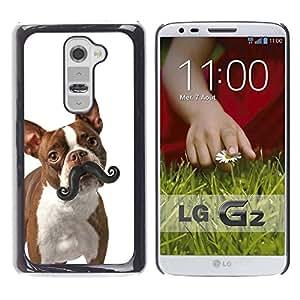 Be Good Phone Accessory // Dura Cáscara cubierta Protectora Caso Carcasa Funda de Protección para LG G2 D800 D802 D802TA D803 VS980 LS980 // Boston Terrier Humunga Moustache Dog
