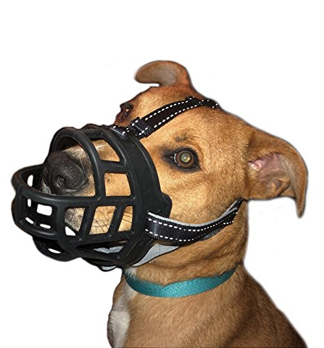 GUXL Luxury Soft Rubber Dog Muzzle - Anti Biting Barking Chewing - Adjustable Silicone Basket Mask Muzzle - for Small Medium Large Dog Safety (Size 4)