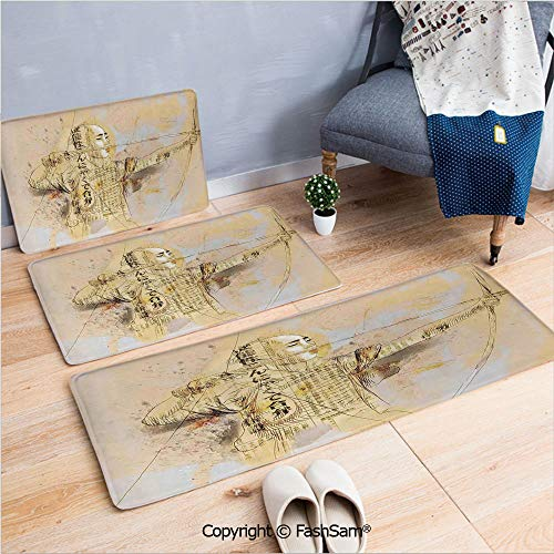 FashSam 3 Piece Flannel Bath Carpet Non Slip Archer in a Combat Hand Drawn Modern Martial Art Asian War Culture Illustration Front Door Mats Rugs for Home(W15.7xL23.6 by W19.6xL31.5 by W17.7xL53)