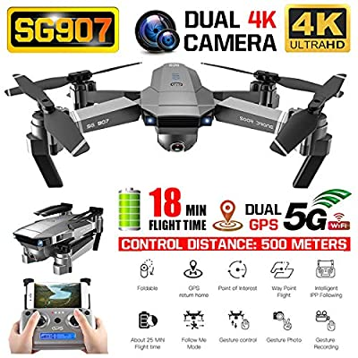 Alician SG907 GPS Drone with 4K 1080P HD Dual Camera 5G WiFi RC Quadcopter Optical Flow Positioning Foldable Mini Drone VS E520S E58