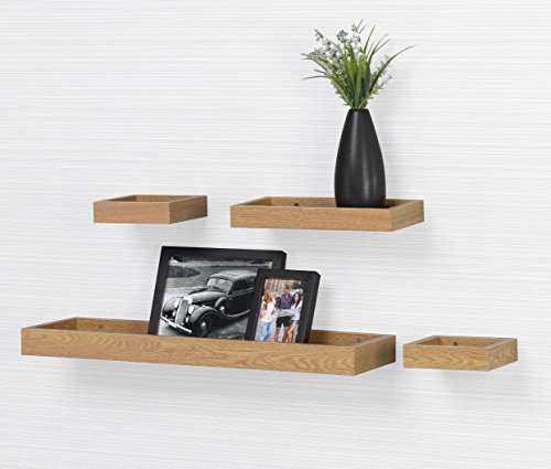 O&K Furniture Modern Home Oak Floating Wall Shelf, Photo Ledge Shelves (Set of 4, 22
