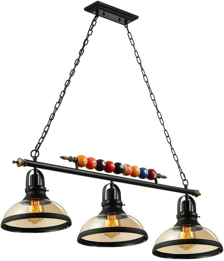 LONGLONG 3 Luces de Isla Colgante de luz Mesa de Billar Lámpara Colgante de luz con Pantalla de Vidrio Transparente Especial Bola de Billar Decoración Araña para Sala de Juegos Sala de