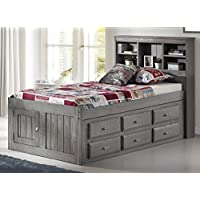 Discovery World Furniture Charcoal Twin Bookcase Captains Bed With 6 drawer Storage