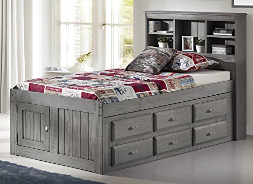 Discovery World Furniture Charcoal Twin Bookcase Captains Bed With 6 drawer (Bed Captain Storage)