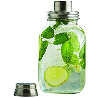 Tablecraft Mason Jar Cocktail Shaker with Metal Top, 9.5 x 9.5 x 20 cm