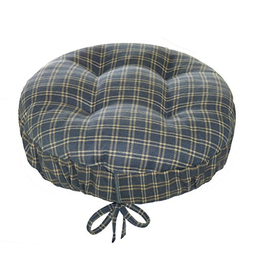 Britt Blue Plaid Round Barstool Cushion with Drawstring Yoke