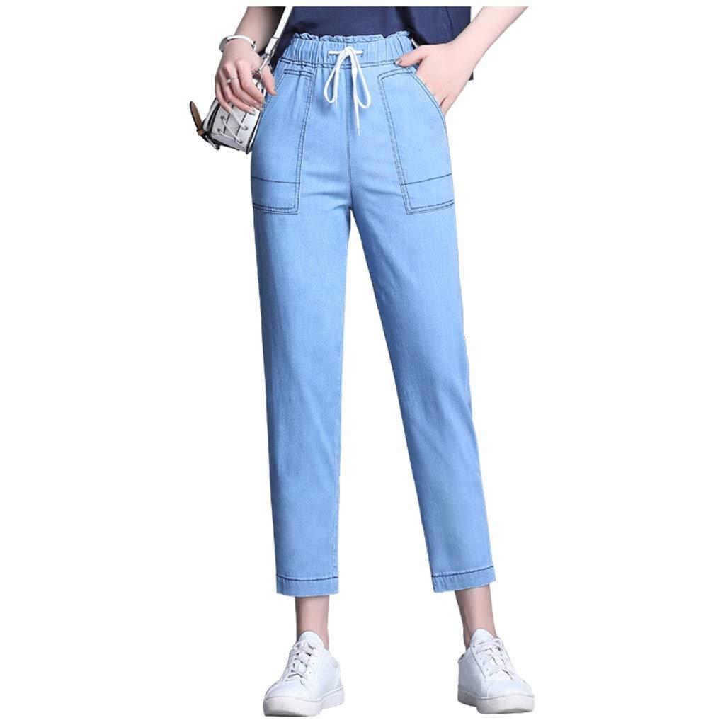 bluee Laceup Jeans Female Harem Pants Korean Version of The Thin Waist Drop Nine Pants Trousers Jeans Harem Pants Nine Pants Version Pants Length 91cm (color   bluee, Size   28 L)