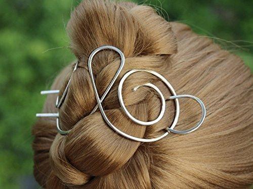 2017 Silver Hair Barrette,Shawl Pin Metal Hair Clips,Hair Bun Holder for Thick Hair,Hair Jewelry,Women Gift.
