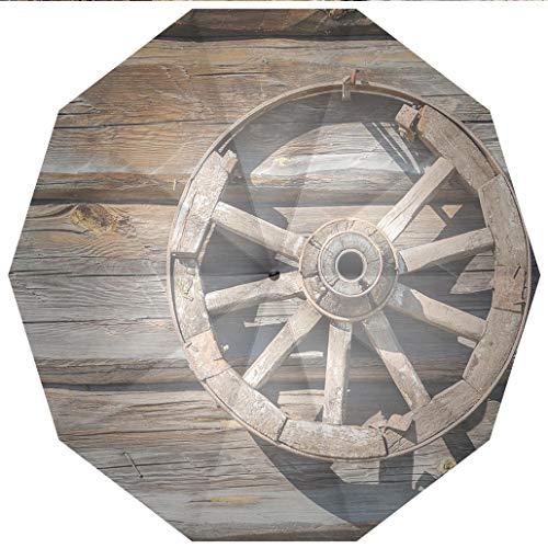 Wagons Cartwheels - 10 Ribs Travel Umbrella UV Protection Auto Open Close Barn Wood Wagon Wheel,Old Log Wall with Cartwheel Telega Rural Countryside Themed Windproof - Waterproof - Men - Women -Lightweight- 45 inches