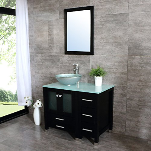 Walcut 36'' Bathroom Vanity with Sink - MDF Wood Cabinet and Glass Vessel Sink and Faucet Combo (5) by WALCUT