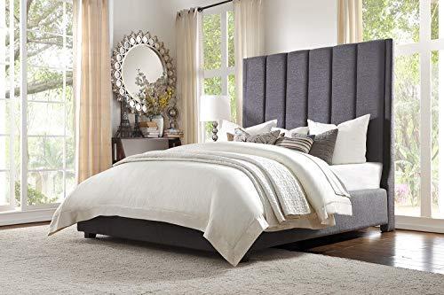Homelegance Neunan Fabric Upholstered Platform Bed, California King, Gray -