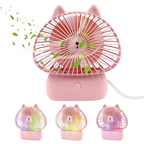 TekHome Battery Operated Fan Pink with Light, Mini Personal Handheld Fan for Travel, Cat Gifts for Cat Lovers, Quiet USB Table Desk Fan, Ventilador Recargable, 3 Speed, 4 Inch, 4-Hour -