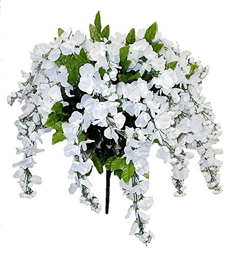 Admired by Nature GPB392-WHITE Artificial Wisteria Hanging Flowers Bush, White, 15 Stem, W.White-392