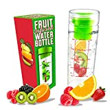 LA Organics Fruit Infuser Water Bottle with Removable Fruit Infuser, 24 oz Tumbler Water Bottle with Free Recipe Ebook