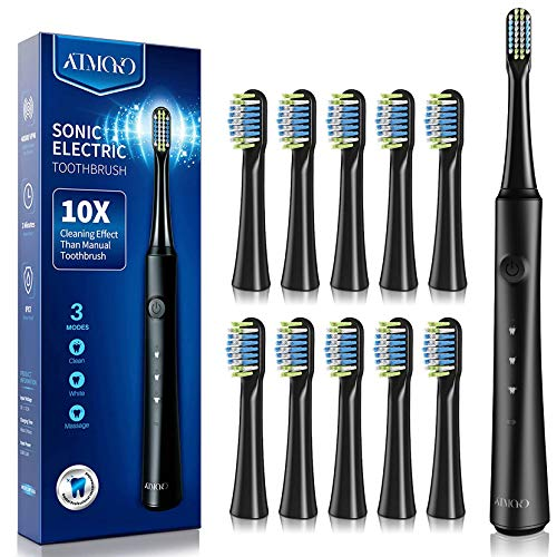 ATMOKO Electric Toothbrushes with 10 Duponts Brush Heads, 40000 VPM, Fast Charge 2.5 H Last 35 Days Rechargeable Power Clean Sonic Toothbrush Adults