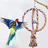 Gati-way Pet Bird Parrot Round Rope Swing Cage Toy, Chew Bites for Pet Parrots
