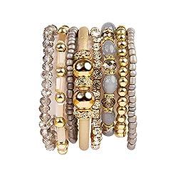 Multi Layer Strand Rhinestone Crystal Stack Bracelet