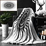 Ralahome Unique Custom Double Sides Print Flannel Blankets Mandala Decor Classic India Style Sun Beams Like Oriental Figures Decorative P Super Soft Blanketry Bed Couch, Throw Blanket 60 x 50 Inches