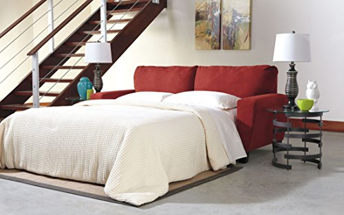 Ashley Furniture Signature Design - Sagen Sleeper Sofa - Contemporary Style Couch - Queen Size - Sienna Red (Brown Full Sofa Sleeper)