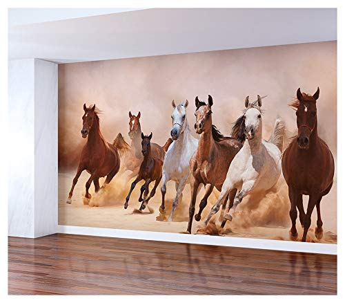 (WonderlandWalls Horses Wall Mural, Peel and Stick, Vinyl Self Adhesive Wallpaper (46