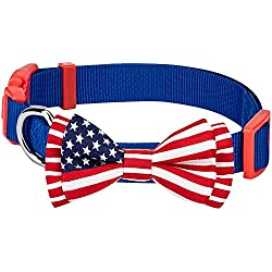 """Blueberry Pet Pack of 1 National Pride Handmade USA Flag w/Jacquard Weave Fabric Detachable Bow Tie Dog Collar in Blue, Medium, Neck 14.5""""-20"""", Adjustable Collars Accessories for Dogs"""
