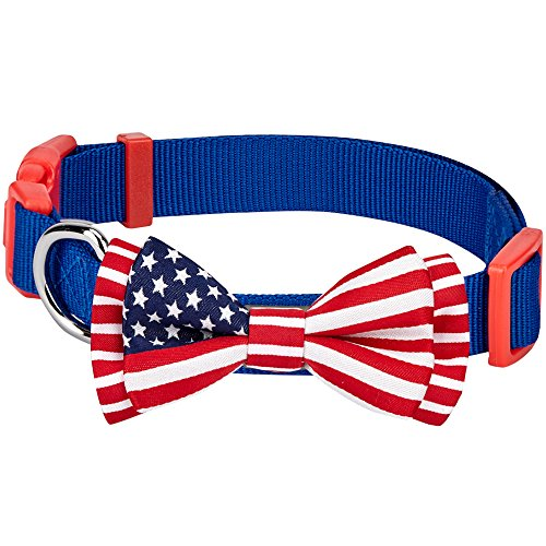 Blueberry Pet Pack of 1 National Pride Handmade USA Flag w/Jacquard Weave Fabric Detachable Bow Tie Dog Collar in Blue, Small, Neck 12-16, Adjustabl…