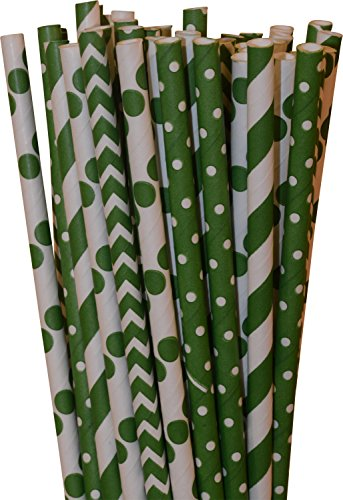 Paper Straws, Biodegradable, Green color with different designs, Box of 144 straws