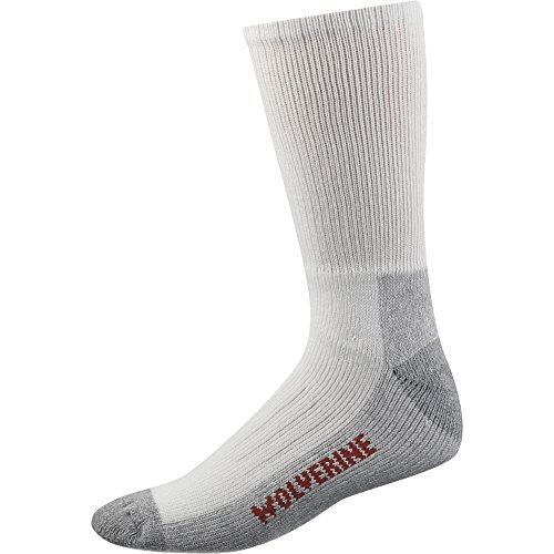 Wolverine Men's 2 Pack Steel Toe Cotton Mid Calf Sock, White, Sock Size:10-13/Shoe Size: 6-12/ Fits Shoe 9-13