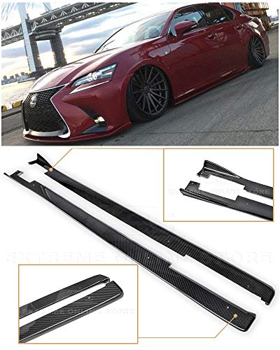 - For 2013-Present Lexus GS-Series JDM Lexon Style CARBON FIBER Side Skirts Rocker Panel Extension