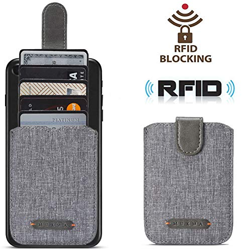 BIAJIYA Card Holder for Back of Phone RFID Blocking 5 Pull Credit Card Cash Cell Phone Wallet Pocket Canvas Pu Leather Stick-On ID Case for iPhone/Android/Samsung/Smartphones (Grey)