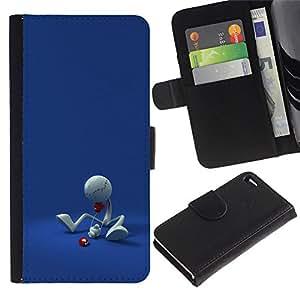 LASTONE PHONE CASE / Lujo Billetera de Cuero Caso del tirón Titular de la tarjeta Flip Carcasa Funda para Apple Iphone 4 / 4S / Funny Minimalist Figure