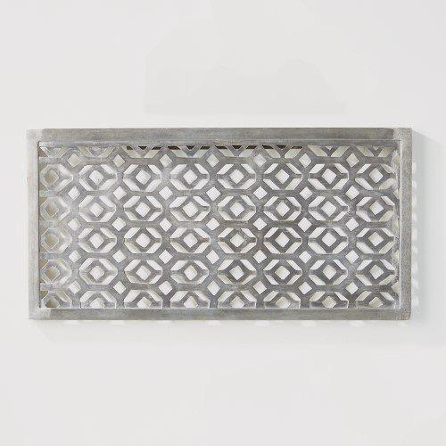 Open Asian Lattice Silver Metal Wall Panel | Fretwork Diamond Nickel Art