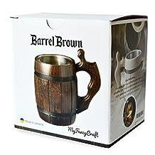 Handmade Beer Mug Oak Wood Dark Natural Eco Friendly Gift Barrel Cup