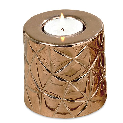 WHW Whole House Worlds Chelsea Pillar Style Tea Light Holder, Quilted Surface, Copper Aluminum Tealight Holder, 3 1/2 Inches Tall