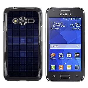KOKO CASE / Samsung Galaxy Ace 4 G313 SM-G313F / cuadrado azul pintado a cuadros moderno oscuro / Delgado Negro Plástico caso cubierta Shell Armor Funda Case Cover