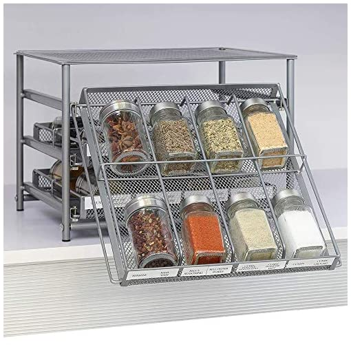 Kitchen NEX Spice Rack Organizer and 24 Glass Spice Jars/Bottles, 3 Tier 24-Bottle Metal Spice Drawer Storage, 4 OZ Empty Spice… spice racks