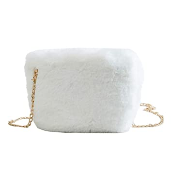 Moda Bolso Peludo Cadena Blanca Simple Bolso Pequeño Invierno Nuevo Solo Hombro Diagonal Paquete Embrague (Color : Blanco, Tamaño : A): Amazon.es: Hogar