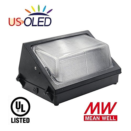 US OLED 60W Outdoor LED Wall Pack Light Fixture,Lumileds LEDs,MeanWell Driver,7200lm(300~500W HID/PHS Replacement),5000K Cool White,UL Listed,IP65 Waterproof for Commercial & Industrial Lighting by US OLED LIGHTING