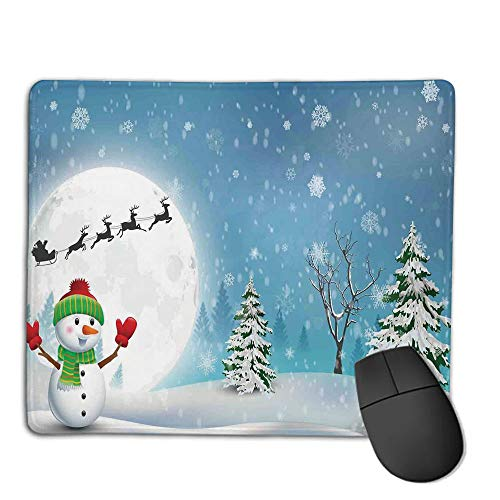 Premium-Textured Mouse Mat,Non-Slip Rubber Mousepad Waterproof,Christmas Decorations,Jolly Snowman Under Full Moon Waving to Santa Reindeer Sleigh Kids,White Blue,Applies to Games,Home, School,offic