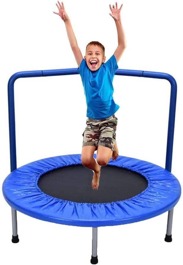 TBTBGXQ - Trampolín portátil de 36 pulgadas para ejercicios de niños, cama elástica portátil con barandilla y cubierta acolchada, cama de salto, para uso en interiores o exteriores