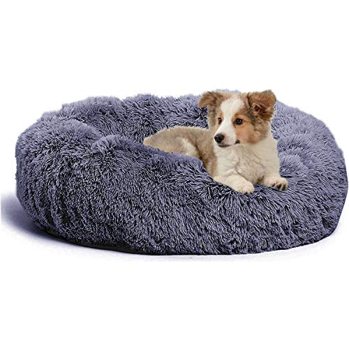 "jincheng Calming Dog Bed Cat Bed Donut, Faux Fur Pet Bed Self-Warming Donut Cuddler, Comfortable Round Plush Dog Beds for Large Medium Small Dogs and Cats (24""/32""/40"")"