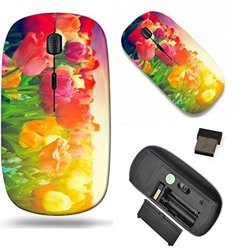 MSD Wireless Mouse Travel 2.4G Wireless Mice with USB Receiver, Noiseless and Silent Click with 1000 DPI for notebook, pc, laptop, computer, mac book design 18866755 Tulip flowers field in artistic mo