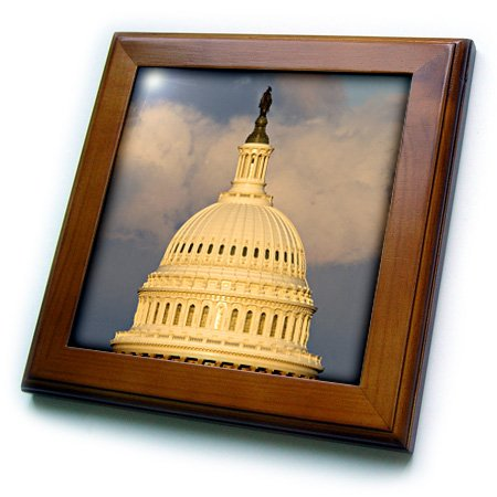 8 by 8-Inch Capitol Building Washington DC US09 DFR0071 Frazier David R 3dRose ft/_88988/_1 Dome of The U.S Framed Tile