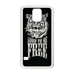 Samsung Galaxy S5 Cell Phone Case White Born To Be Free Tiger Illustration JSK923073