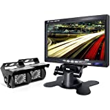 Backup Camera and Car Dash Monitor 2 Cameras Wired and Waterproof Rear View Rearview Reverse Camera For Truck/Semi-Trailer/Box Truck/RV When Reversing Parking Backing to Avoid Blind Area eRapta (ER02)