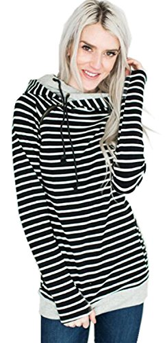 - Asymmetric Asymmetrical Hooded Hood Hoodie Striped Stripe Colorblock Cotton Sweatshirt Top Side Zip Up Black M